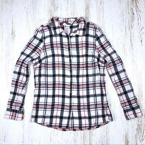 Gap Fitted Boyfriend Shirt Flannel Plaid M Button